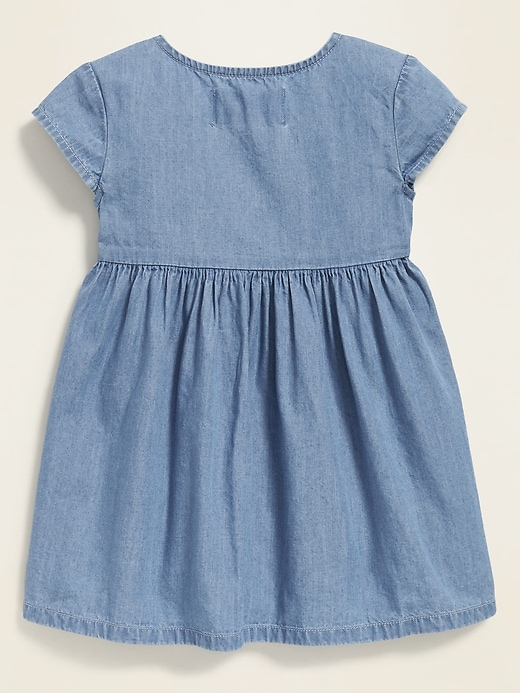 Chambray Button-Front Fit & Flare Dress for Toddler Girls