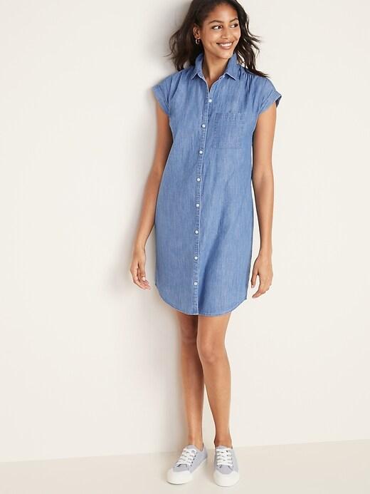 Chambray Cap-Sleeve Shirt Dress for Women