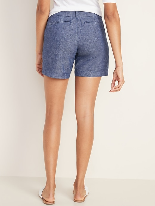Mid-Rise Everyday Linen-Blend Shorts for Women -- 7-inch inseam