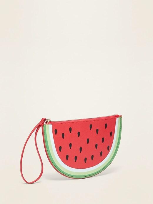 Faux-Leather Watermelon Wristlet Bag for Women
