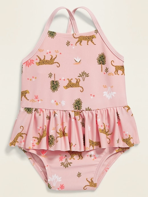 Safari-Print Peplum Swimsuit for Baby
