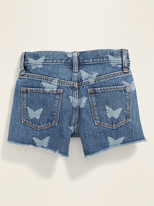 """Embroidered """"Butterfly"""" Graphic Jean Cut-Off Shorts for Girls"""