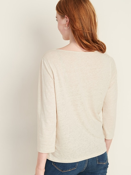 Split-Neck Lace-Trim Linen-Blend Top for Women