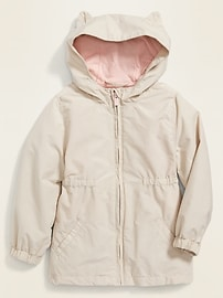 Water-Resistant Hooded Critter Jacket for Toddler Girls