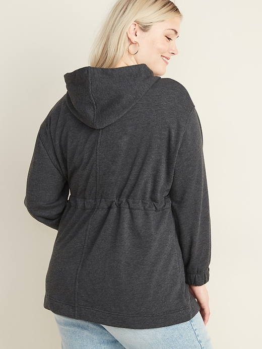 Soft-Brushed Hooded Utility Plus-Size Jacket
