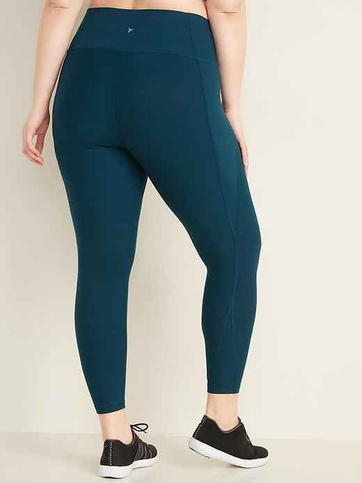 High-Waisted Elevate Powersoft Plus-Size Side-Pocket 7/8-Length Compression Leggings