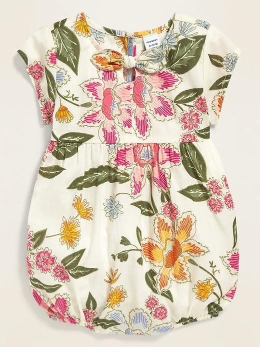 Floral-Print Bubble One-Piece for Baby