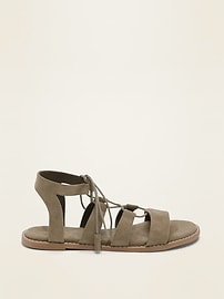 Faux-Suede Lace-Up Gladiator Sandals for Women