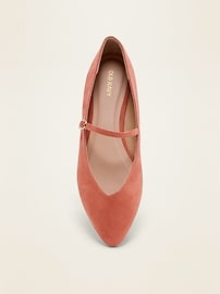 Faux-Suede Mary-Jane Ballet Flats for Women