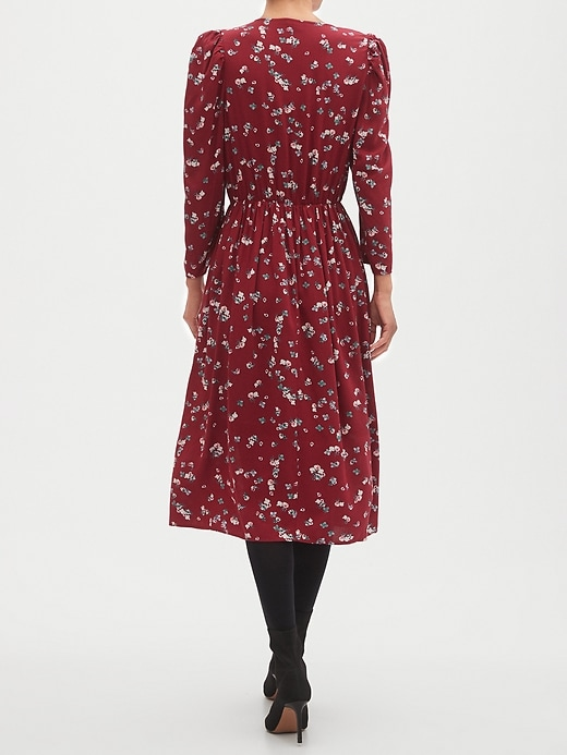 Floral Print Puff-Sleeve Fit-and-Flare Midi Dress
