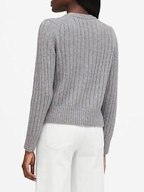 Merino-Blend Cropped Cardigan Sweater