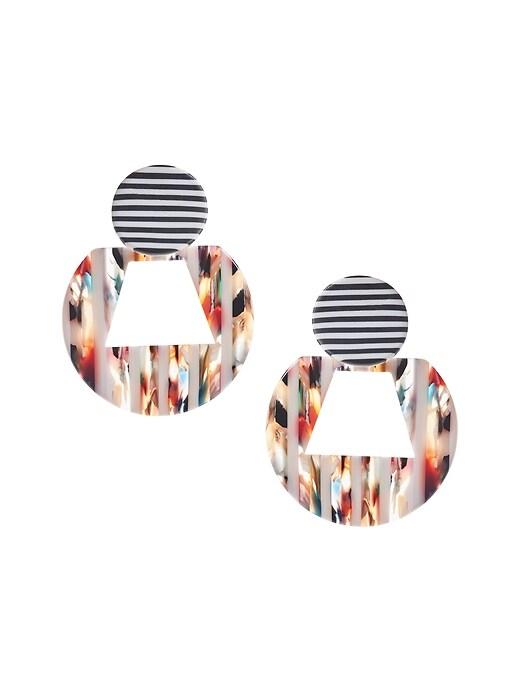 Resin Striped Hoop Earrings
