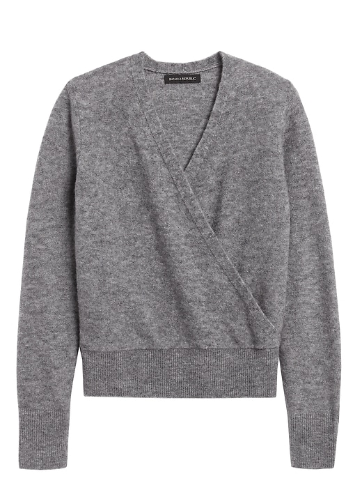Petite Aire Cropped Wrap-Effect Sweater
