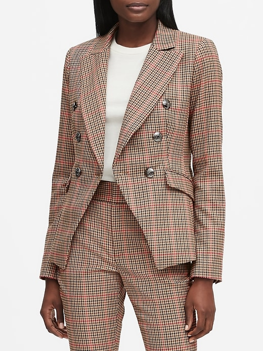 Petite Double-Breasted Plaid Blazer