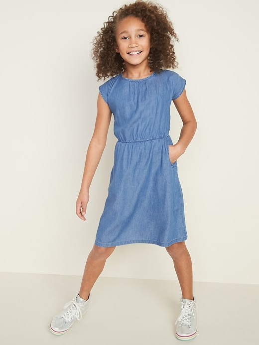 Waist-Defined Bow-Tie Back Dress for Girls