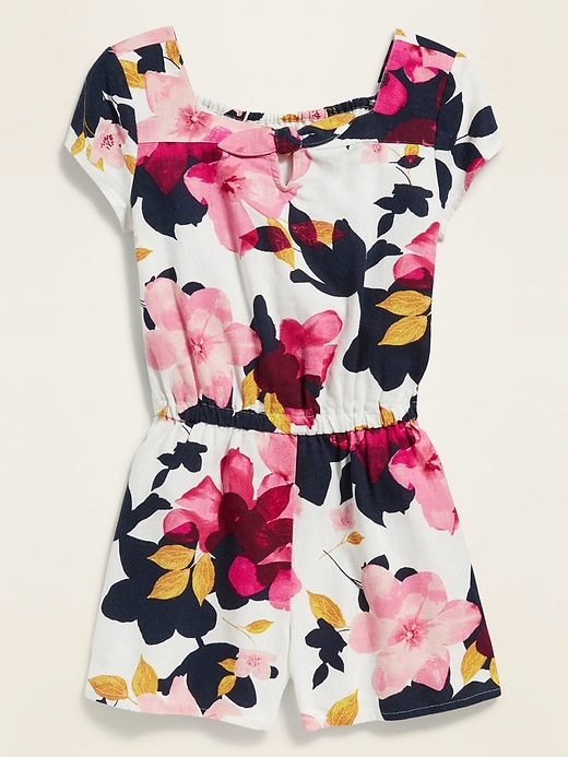 Printed Linen-Blend Romper for Girls