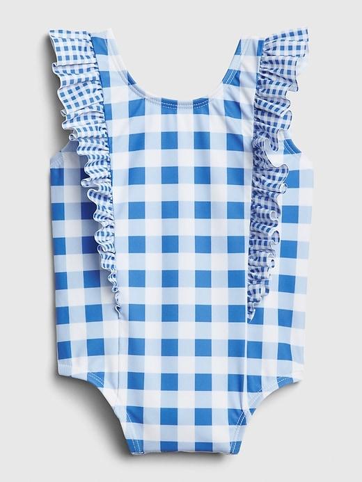 Baby Gingham Ruffle Swim One-Piece