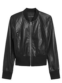 Vegan Leather Cropped Bomber
