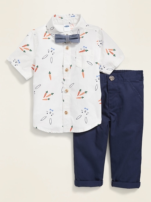 Bow-Tie Short-Sleeve Shirt & Khaki Pants Set for Baby