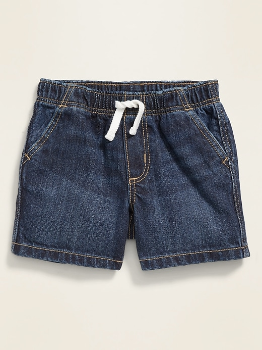Dark-Wash Pull-On Jean Shorts for Baby