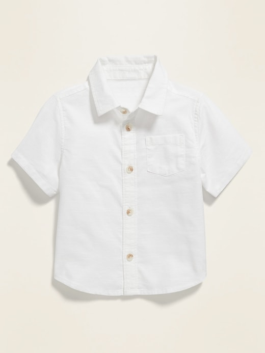 Slub-Weave Short-Sleeve Oxford Shirt for Baby