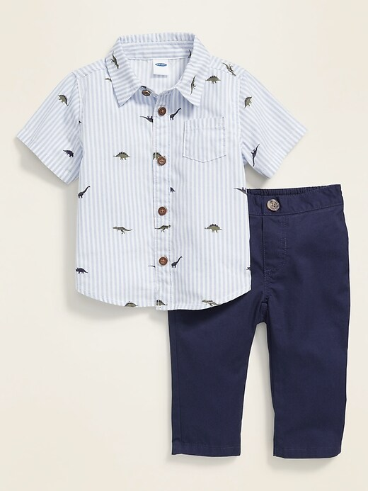 Short-Sleeve Shirt & Khaki Pants Set for Baby