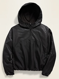 Hooded 1/2-Zip Water-Resistant Pullover Jacket for Girls