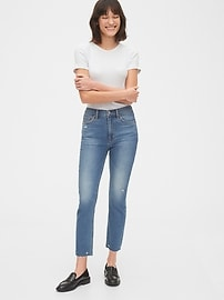 High Rise Distressed Cigarette Jeans