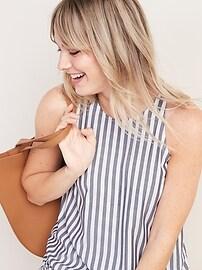 Sleeveless High-Neck Striped Top for Women