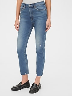 Gap High Rise Distressed Cigarette Jeans