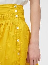 Embroided Midi Skirt in Poplin