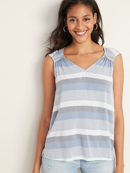 Sleeveless Ruched V-Neck Top for Women