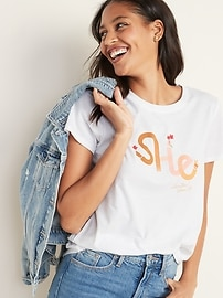 """She"" International Women's Day Graphic Tee for Women"
