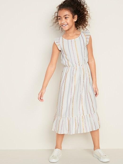 Cinched-Waist Flutter-Trim Dress for Girls