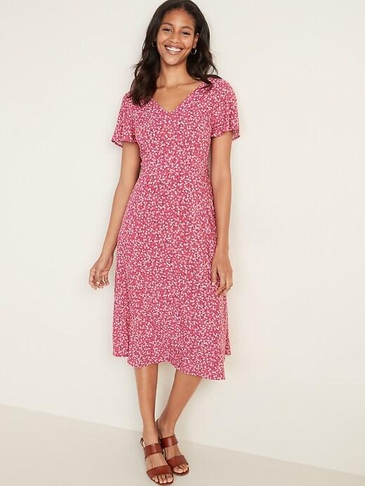 Fit & Flare V-Neck Midi Dress for Women