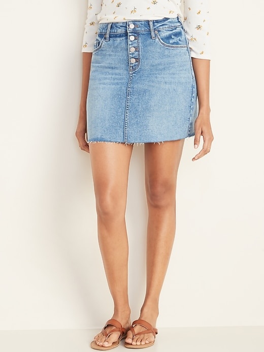 High-Waisted Button-Fly Frayed-Hem Jean Skirt for Women