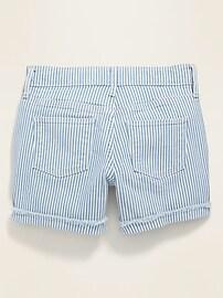 Pin-Stripe Jean Midi Shorts for Girls