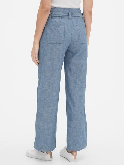 Wide-Leg Chambray Pants