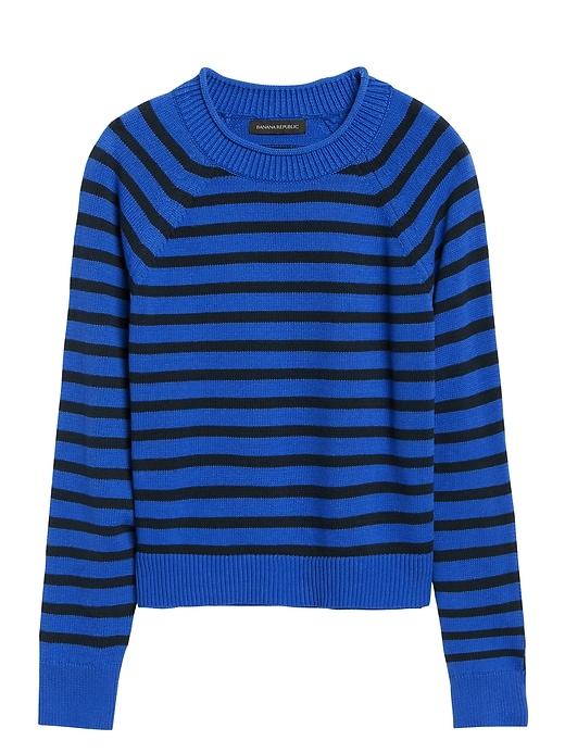 Stripe Cotton-Blend Cropped Sweater