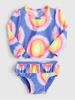 GAP Baby Girl Gingham Ruffle Swimsuit