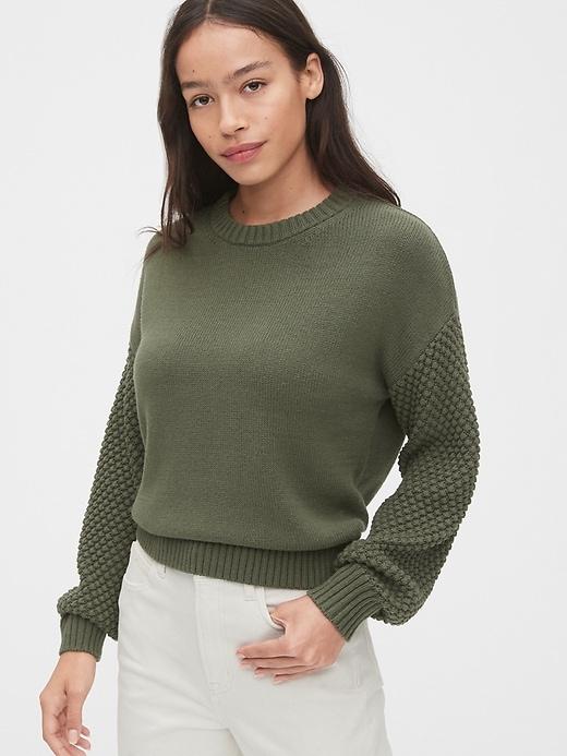 Cropped Bobble Stitch Crewneck Sweater