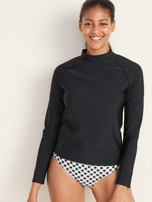 Mock-Neck Rashguard Long-Sleeve Swim Top for Women