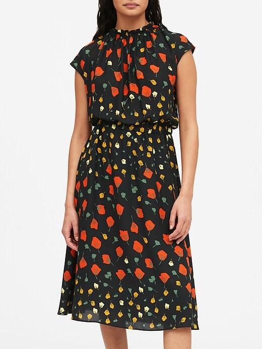 Petite Print Midi Dress