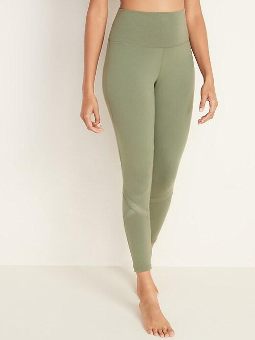 High-Waisted Balance Mesh-Trim 7/8-Length Leggings For Women