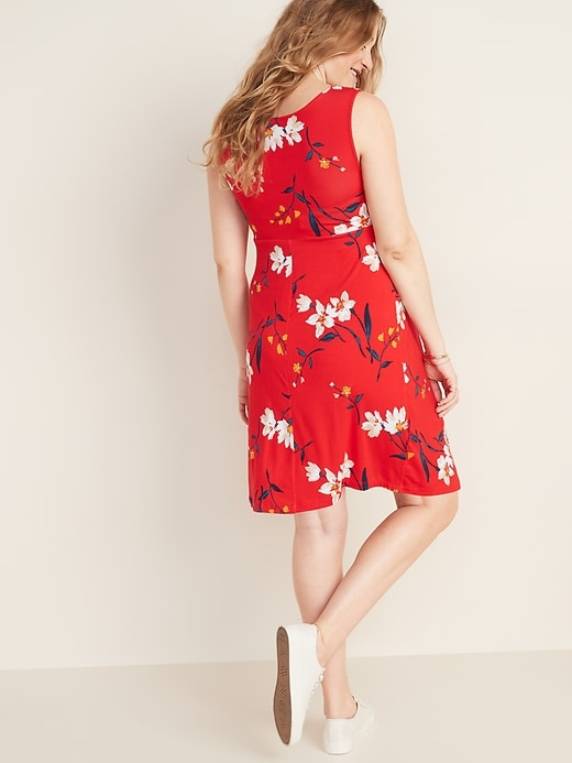 Maternity Printed Knot-Front Fit & Flare Jersey Dress