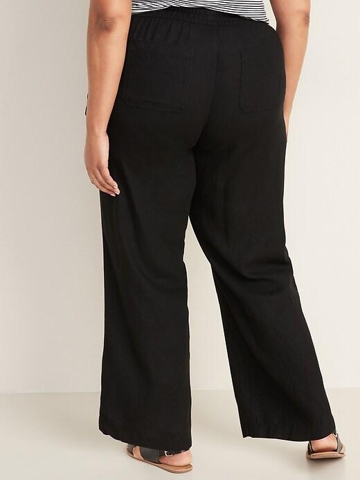 Mid-Rise Plus-Size Linen-Blend Wide-Leg Pants