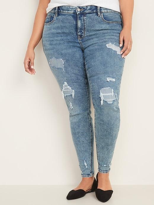 High-Waisted Secret-Slim Pockets + Waistband Distressed Rockstar Jeans