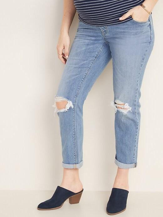 Maternity Full-Panel Distressed Boyfriend Straight Jeans