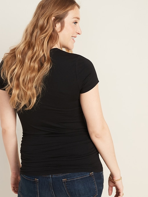Maternity Shirred Crew-Neck Tee