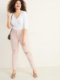Mid-Rise Distressed Rockstar Pop-Color Super Skinny Jeans for Women